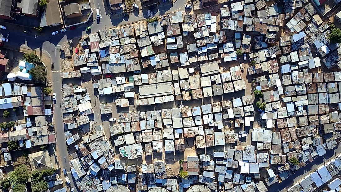 The word slum is often used to describe informal settlements.