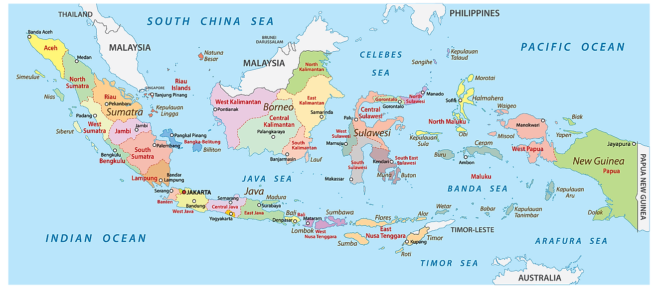 Administrative Map of Indonesia showing its 34 provinces and the capital city - Jakarta
