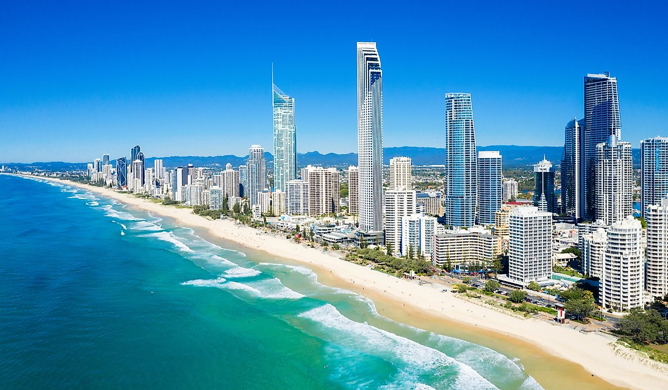 Sunny view of Surfers Paradise on the Gold Coast looking from the North, QLD, Australia.