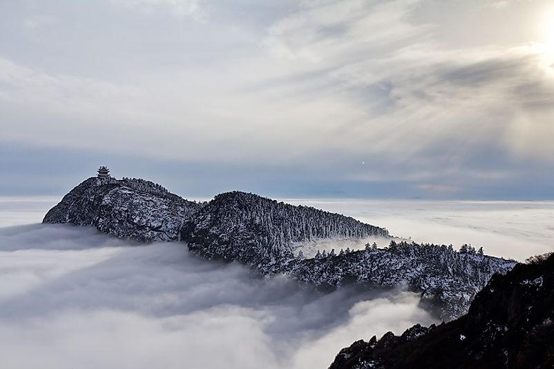Mountaintops break through the clouds in Emeishan National Park.