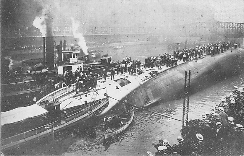 View of SS Eastland from the south side of river after the accident.