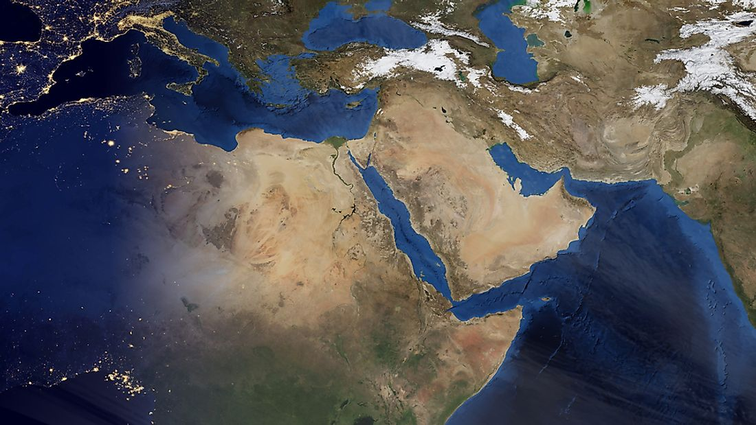 A satellite view of the area of the world known as the Middle East.