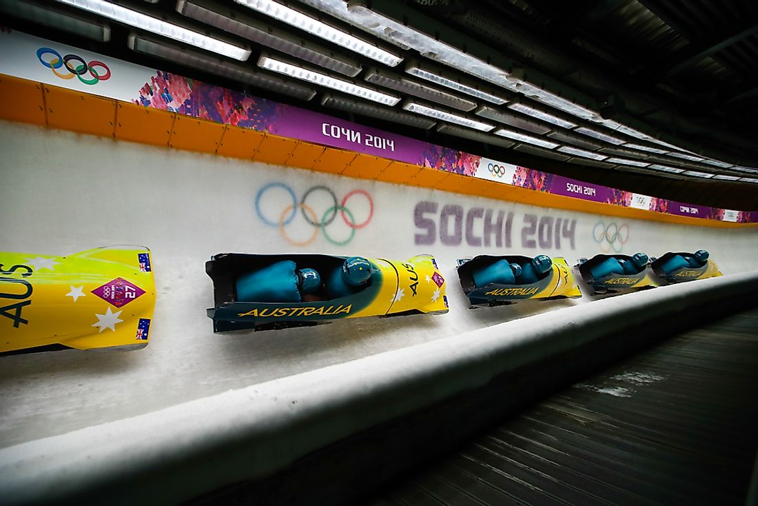 Bobsleigh athletes compete at the Sochi Olympics. Photo credit: Iurii Osadchi / Shutterstock.com.