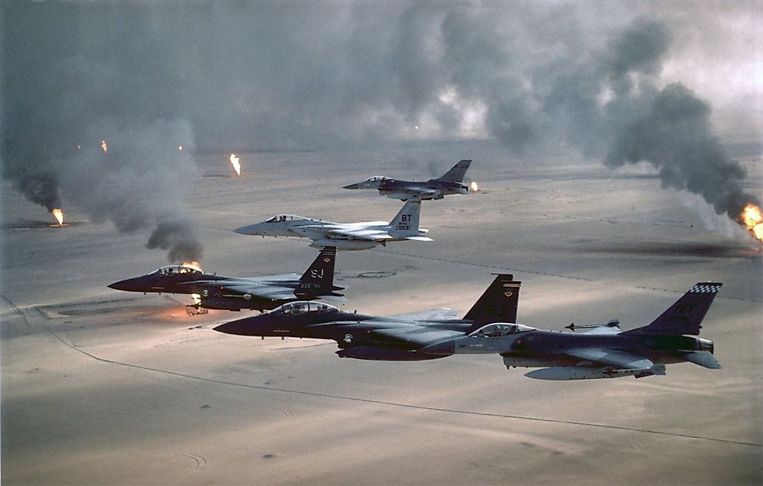 The U.S. Air Force patrolling the no-fly zone over Iraq in 1991.