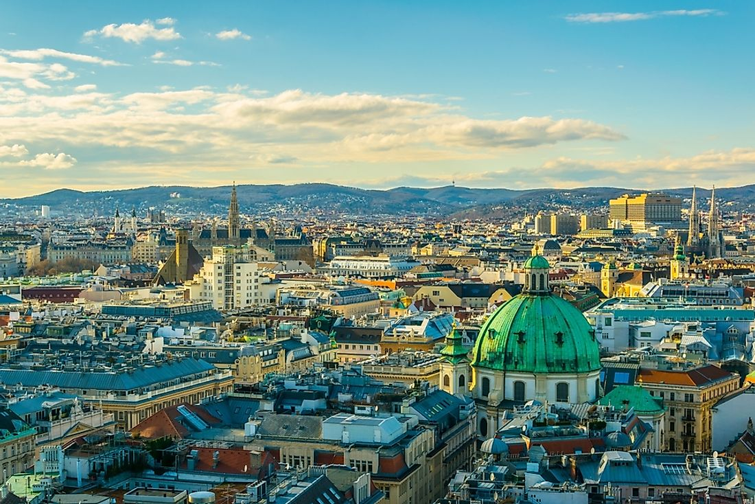 The cityscape of Vienna, Austria.