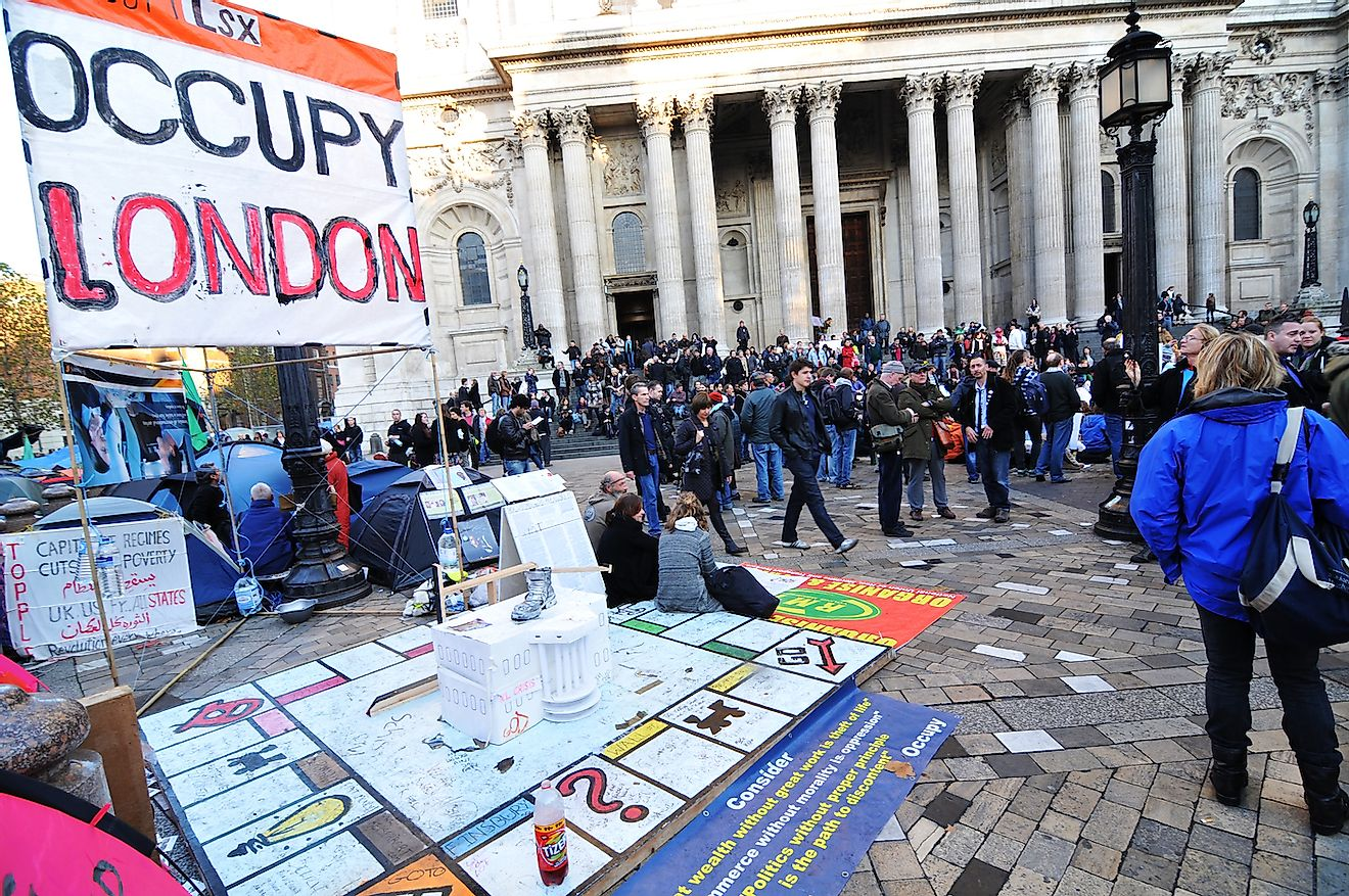 LONDON, UK - NOVEMBER 19, 2011: Occupy London protesters camp at Saint Paul cathedral. Image credit:  Lucian Milasan/Shutterstock.com