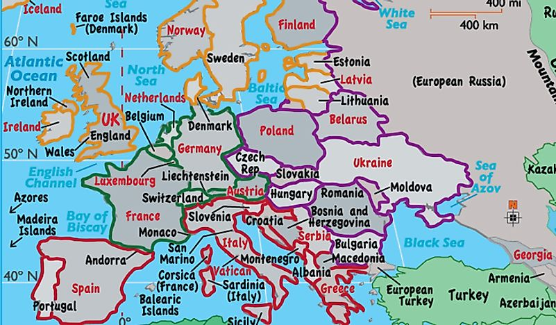 A map showing the regions of Europe, Northern Europe (orange), Western Europe (green), Southern Europe (red), and Eastern Europe (purple).