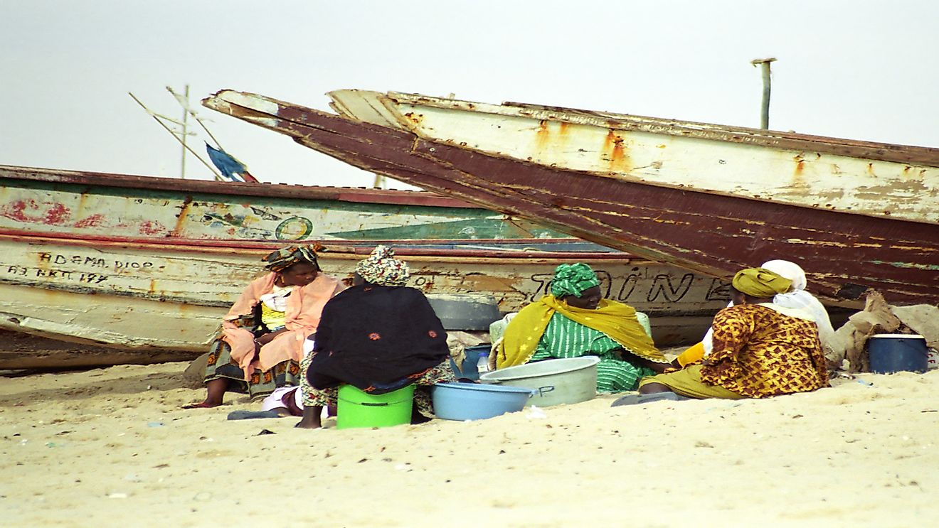 Local women clean fish at the beach in Nouakchott, Mauritania.