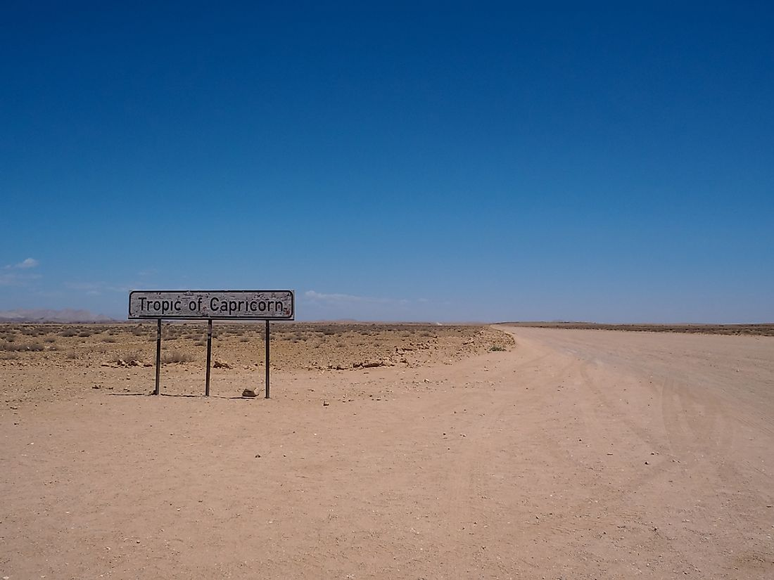 A sign marking the Tropic of Capricorn.