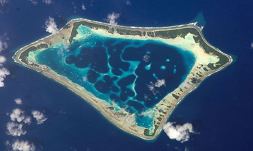 Satellite picture of the Atafu atoll in Tokelau in the Pacific Ocean.