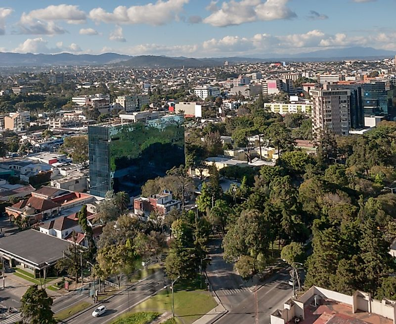 Skyline of Ciudad de Guatemala, the most populous city in the country, on a sunny day.