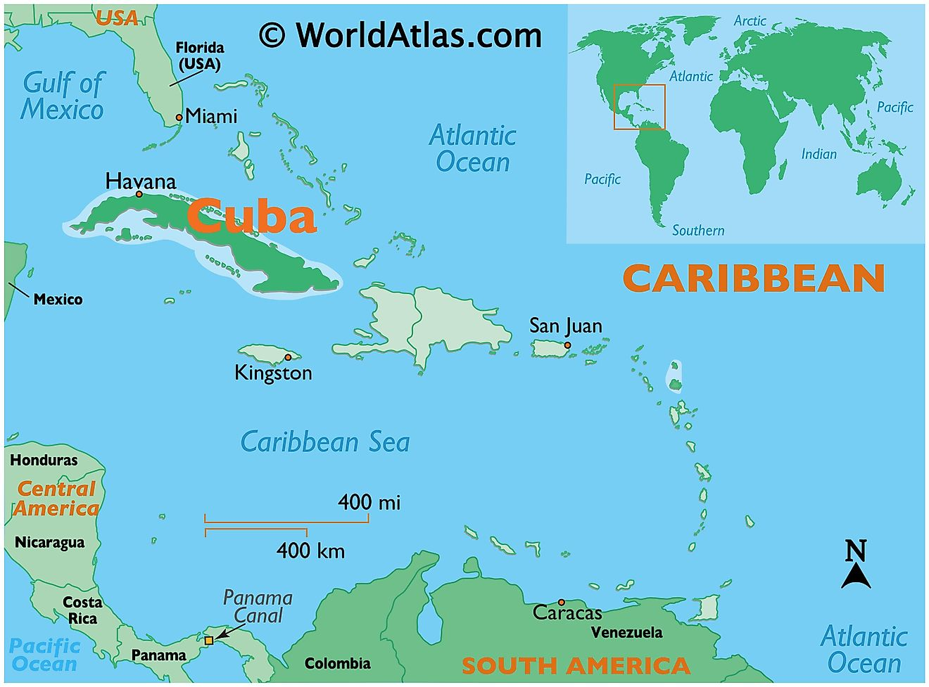 Map showing location of Cuba in the world.