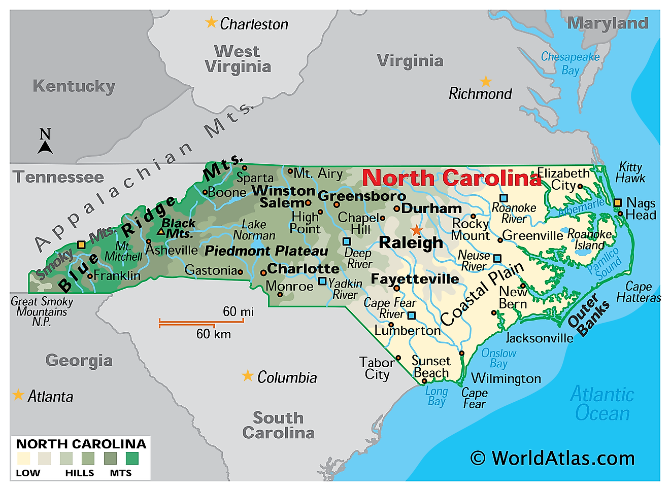 Physical Map of North Carolina. It shows the physical features of North Carolina including its mountain ranges, major rivers and lakes.
