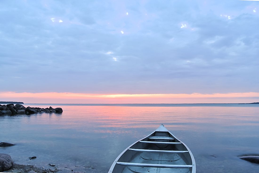 Lake Winnipeg, the largest lake in Manitoba.
