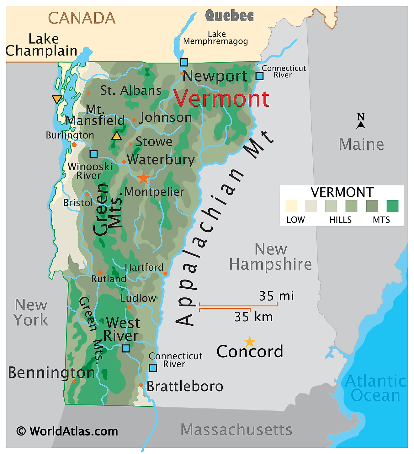 Physical Map of Vermont. It shows the physical features of Vermont including its mountain ranges, rivers and major lakes.