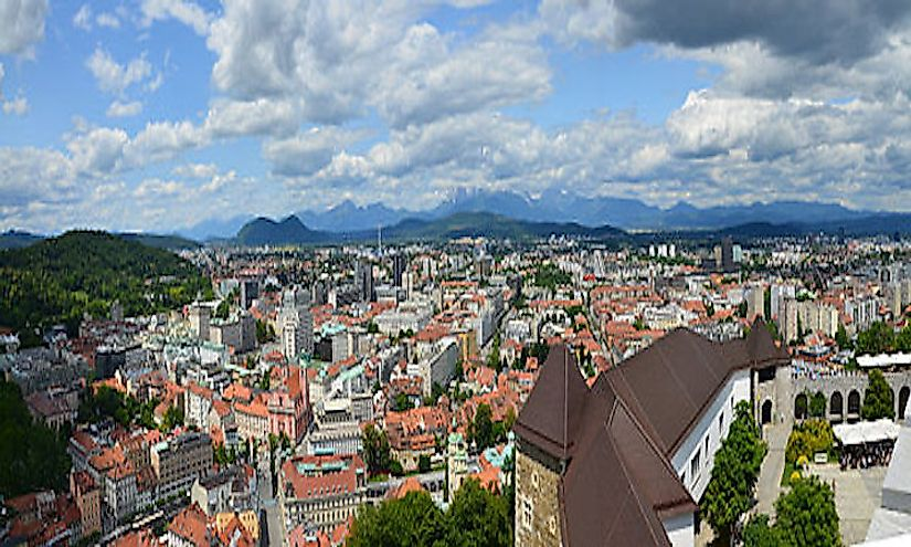 The cityscape of ​Ljubljana, Slovenia's biggest and capital city.