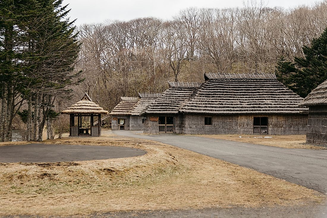 Houses in the Shiraoi Ainu Village Museum in Hokkaido, Japan.