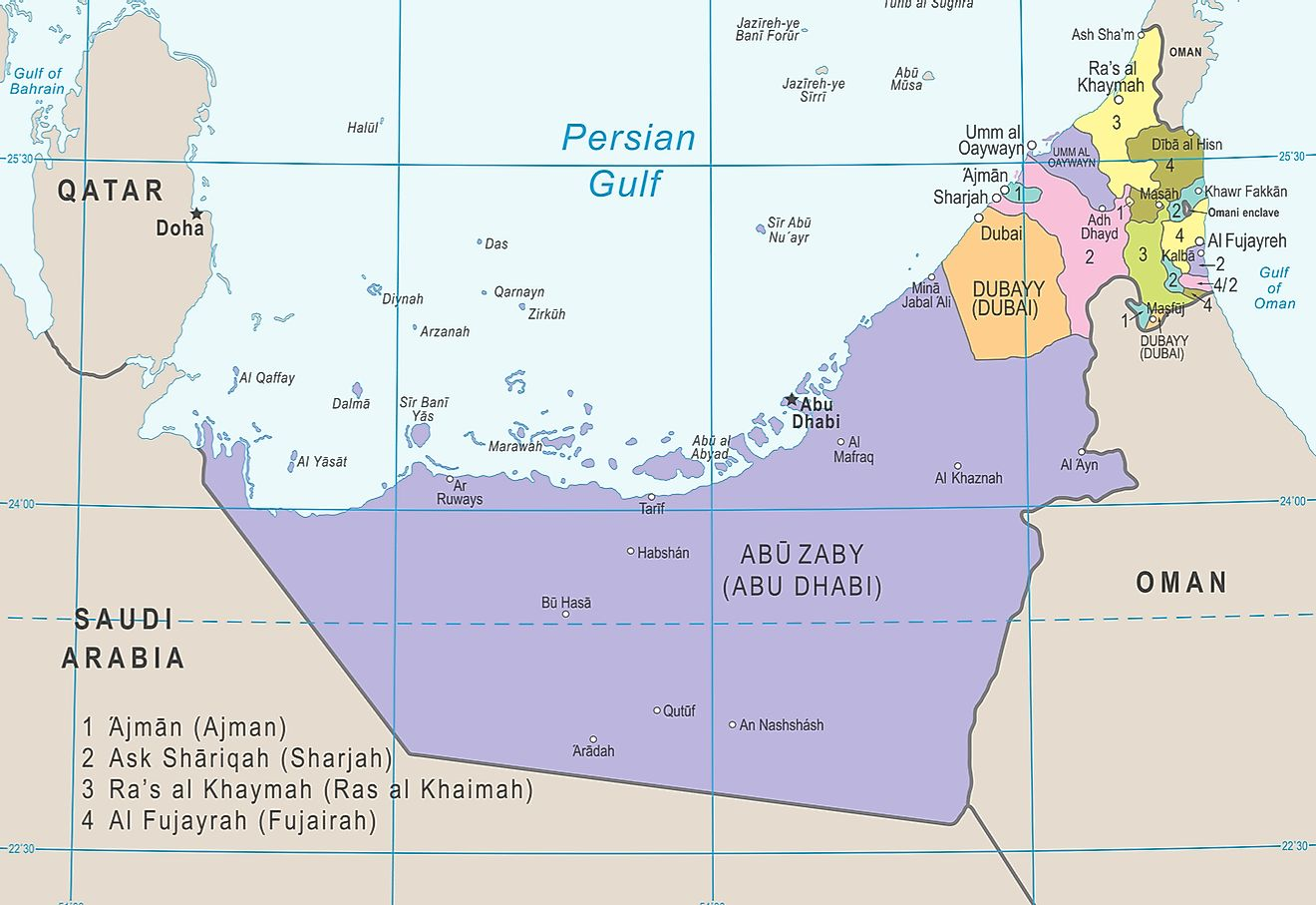 Political map of the United Arab Emirates.