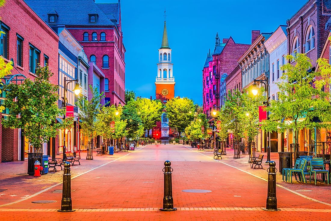Burlington, the largest city in Vermont.