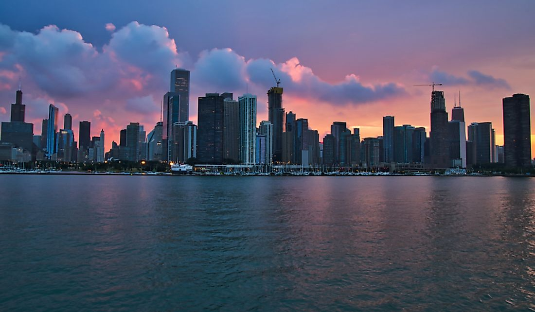 The city of Chicago on the shore of Lake Michigan.