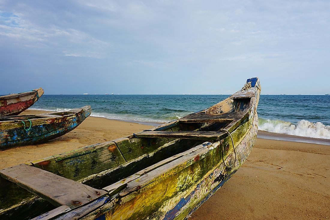 Fishing boats at the shore in Togo.