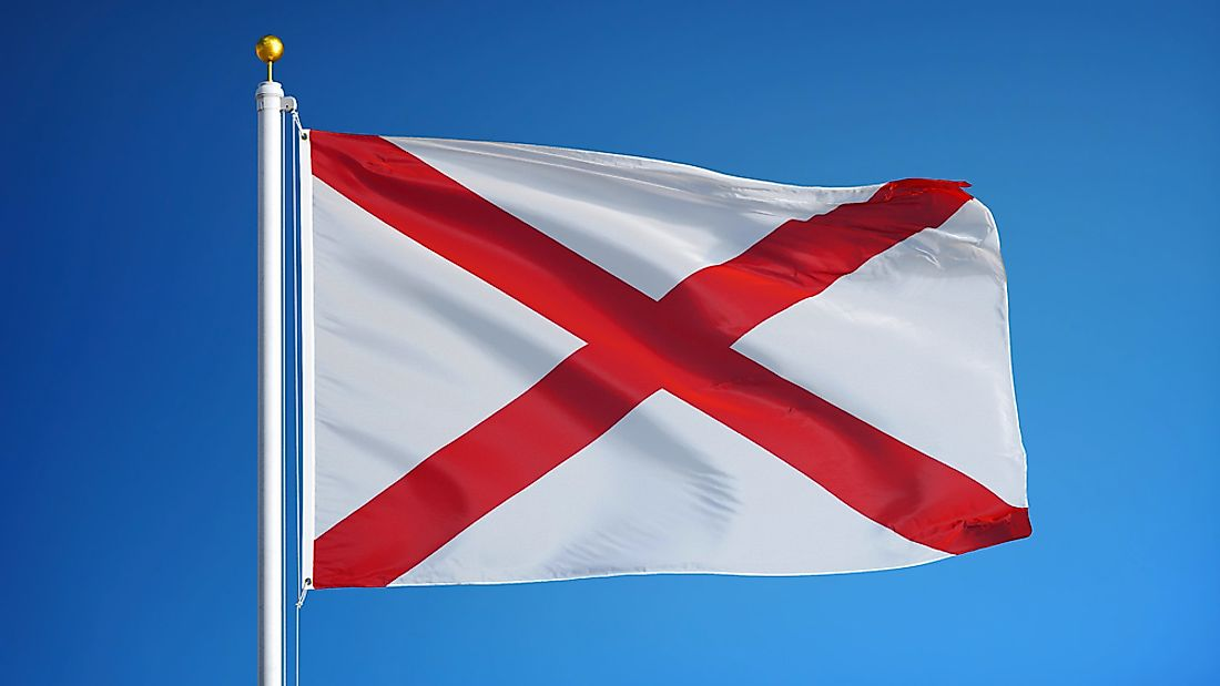 The Alabama state flag features the crimson cross of St. Andrew.