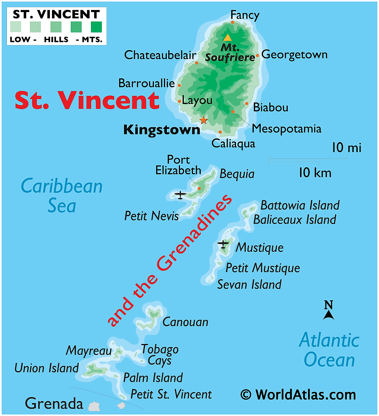 Physical Map of St. Vincent and The Grenadines showing relief, islands, ports, airport, important settlements, etc.