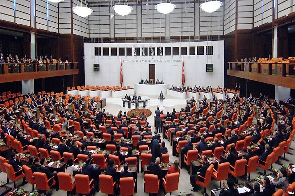 The main chamber of the Grand National Assembly of Turkey.