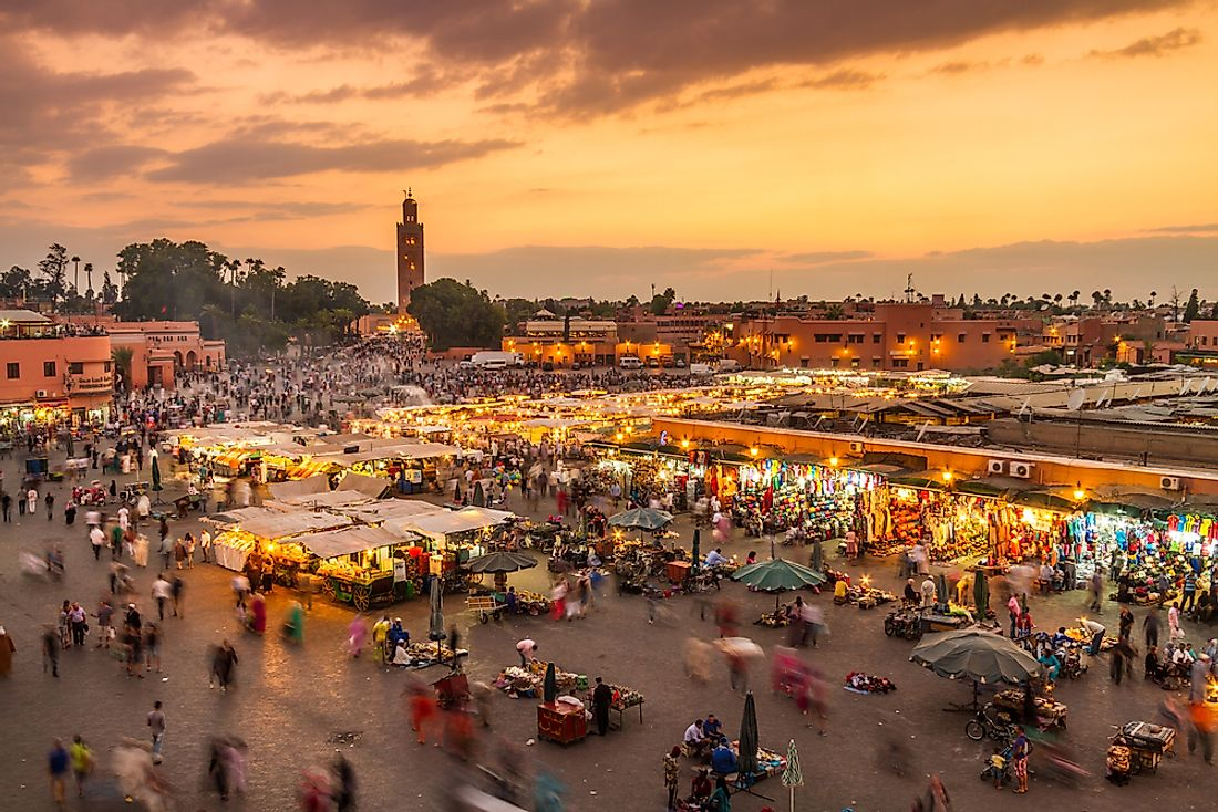 Jamaa el Fna market square in Marrakesh, Morocco.