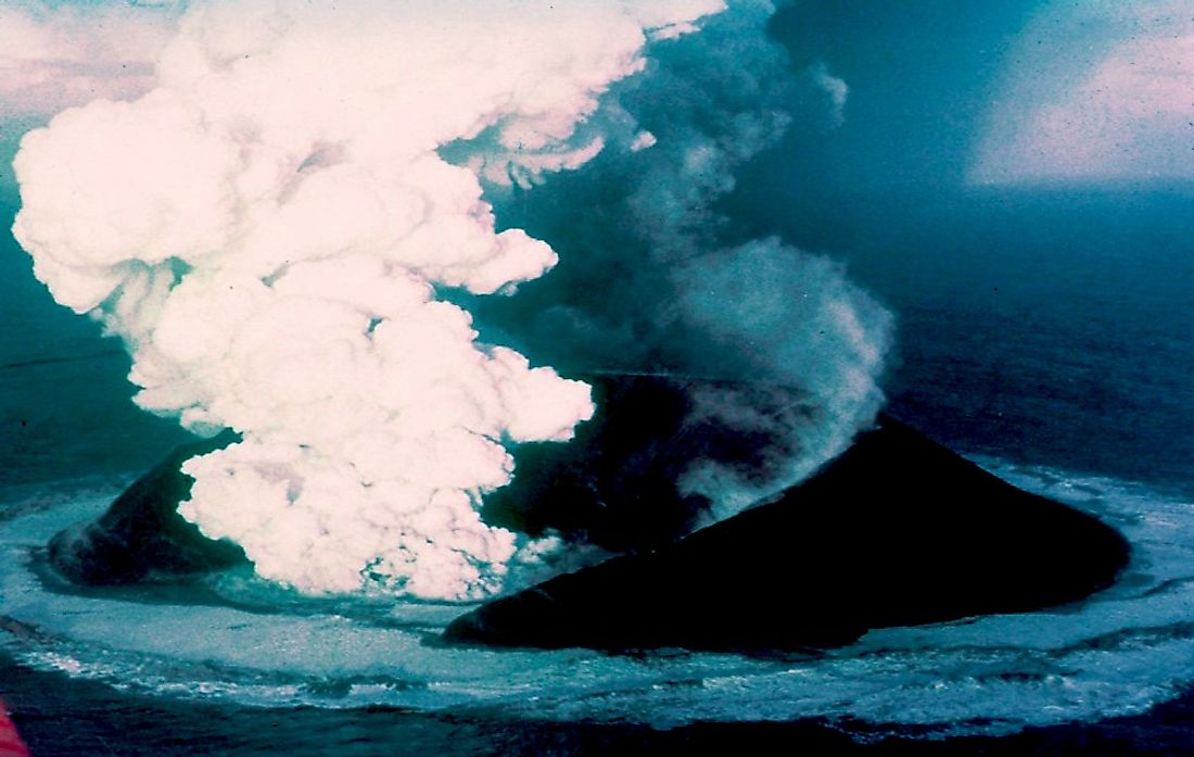 Surtsey on November 30, 1963, 16 days after the beginning of the eruption.