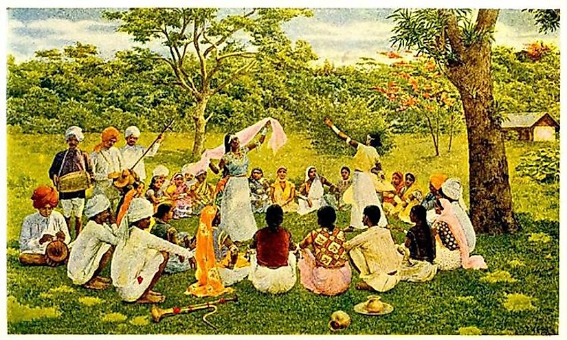 A gathering of Indian coolies in a plantation.