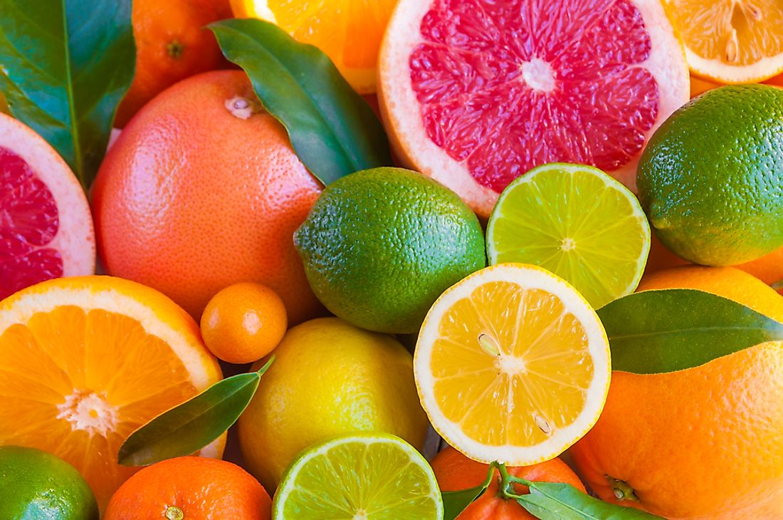 Lemons, grapefruit, oranges and limes are among the citrus fruit types of the world.