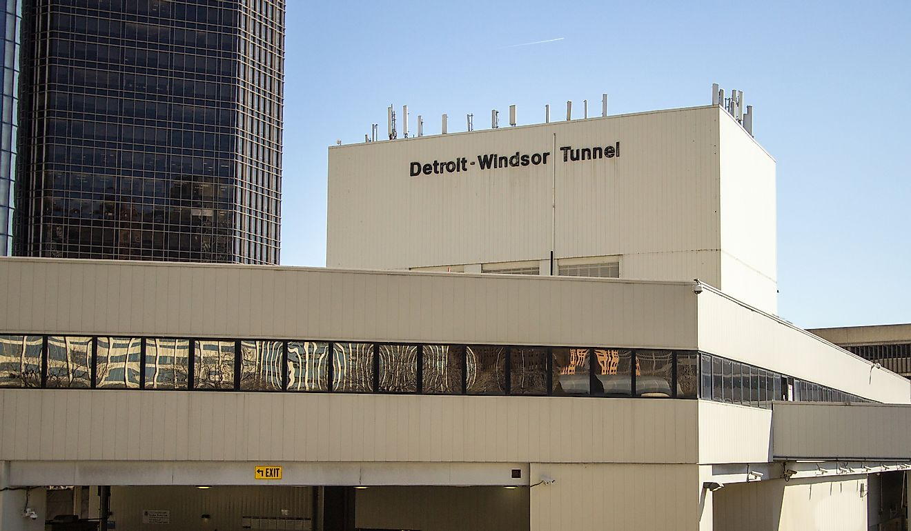 Entrance to the Detroit Windsor Tunnel which connects Michigan, USA and Ontario, Canada. It is one of the busiest border crossings between the two countries and passes beneath the Detroit River. Image credit: ehrlif/Shutterstock.com