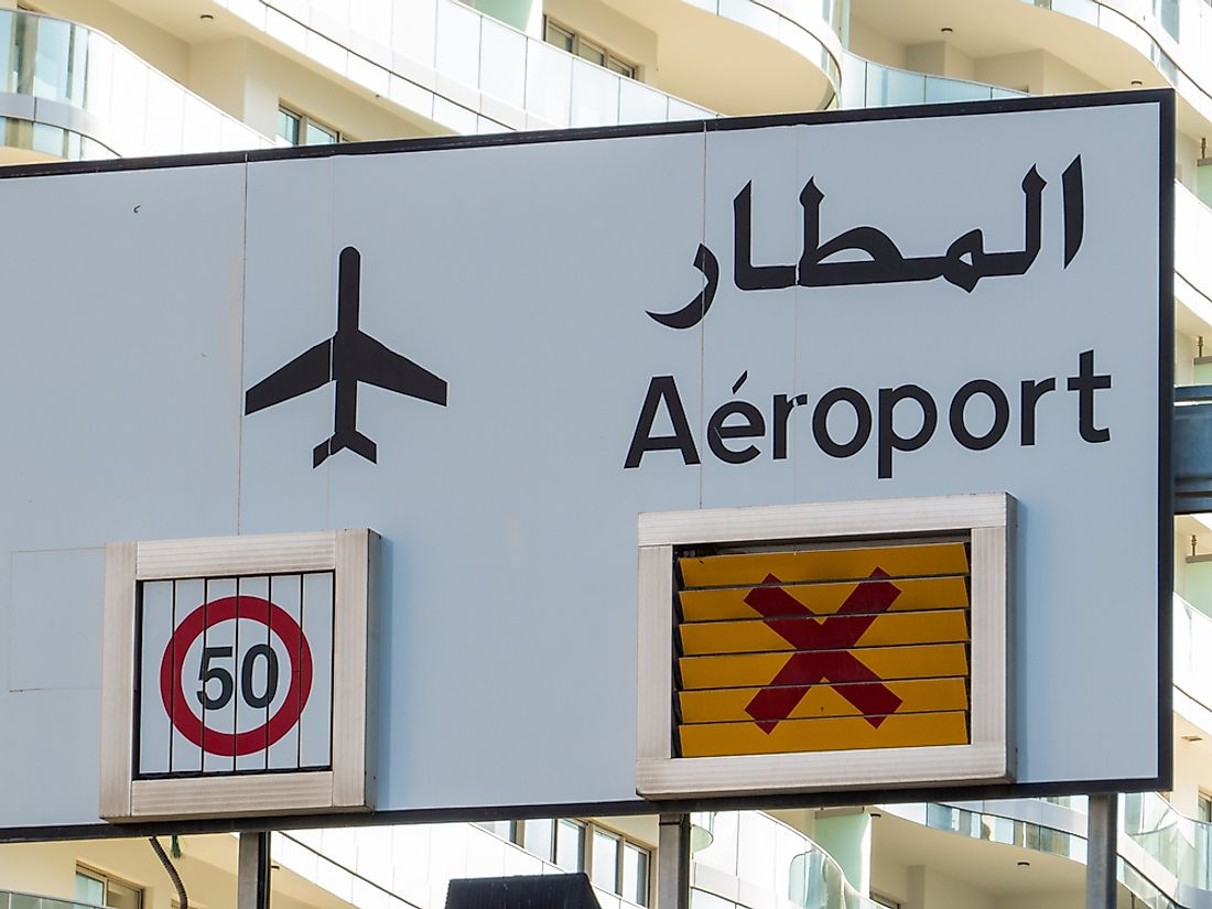 A sign in Lebanon showing both Arabic and French.