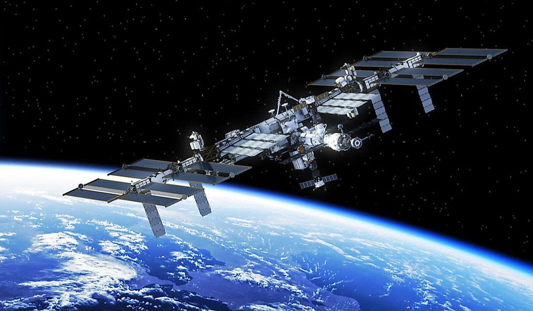 The ISS travels at a constant distance of about 250 miles from the earth's surface.