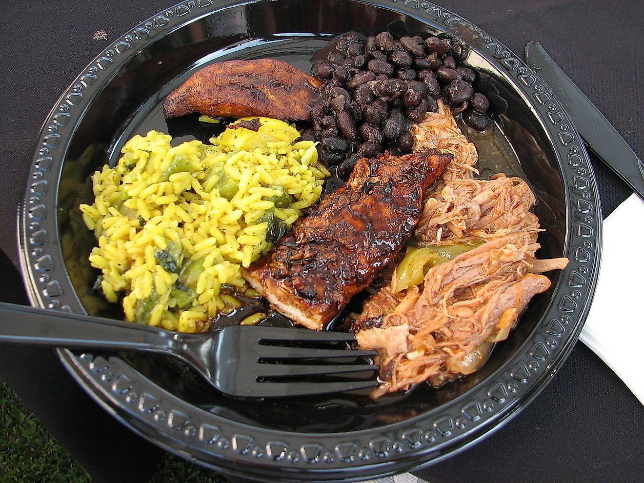 A typical Cuban dinner - Shredded beef, jerk chicken, black beans and plantains. Image credit: Mulling it Over/Wikimedia.org