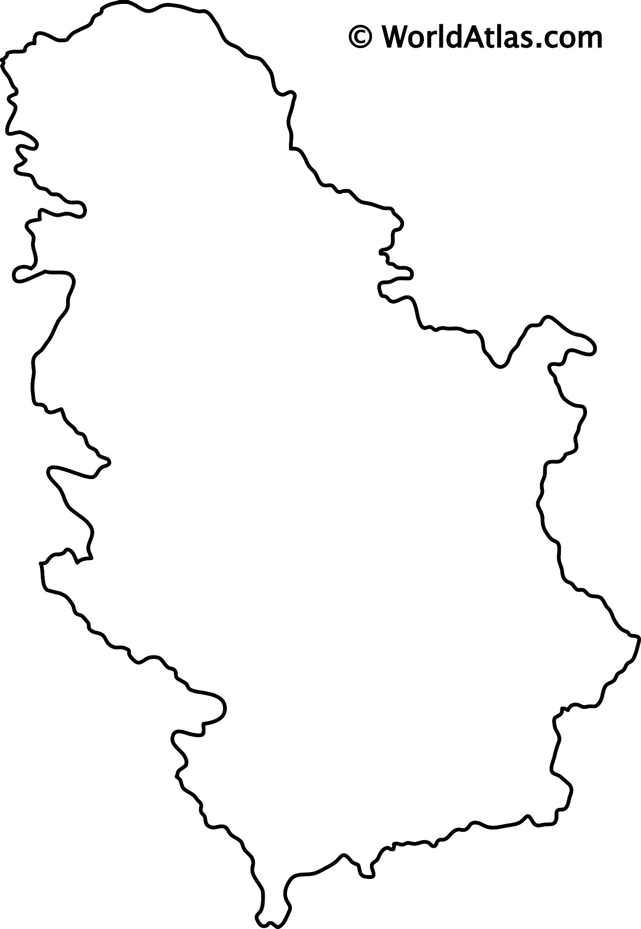 Blank Outline Map of Serbia