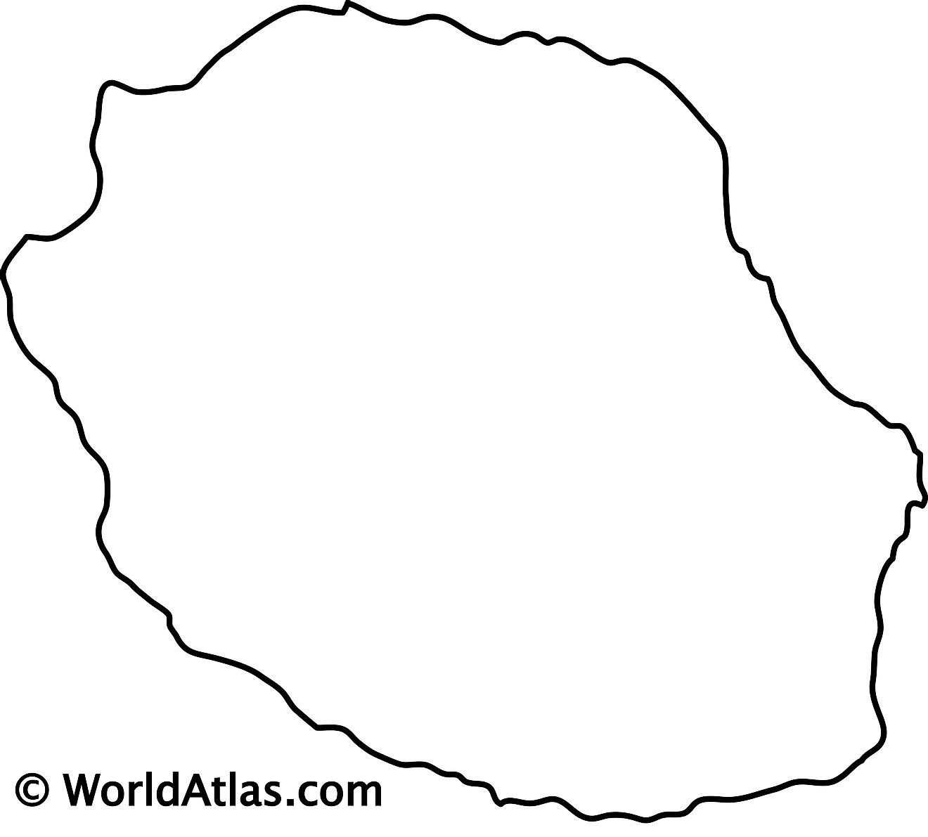 Blank outline map of Reunion