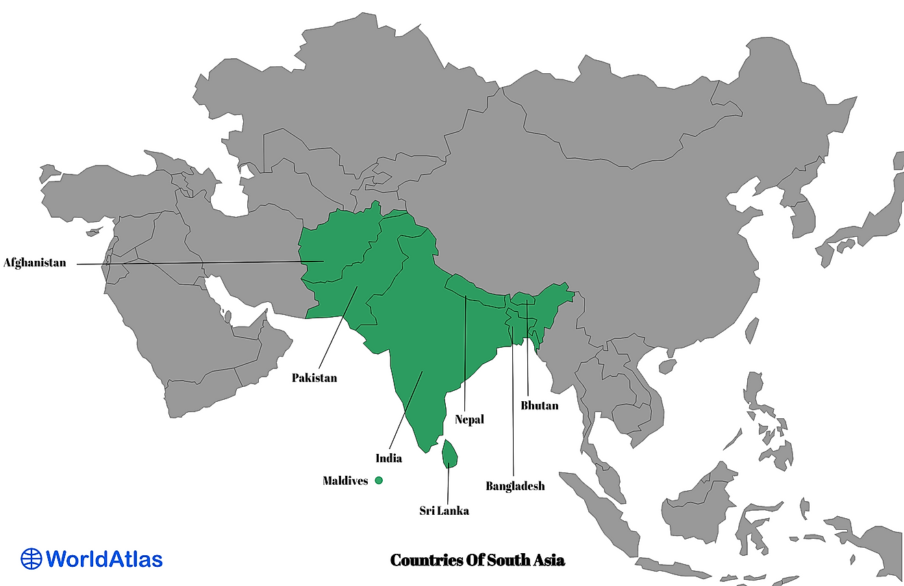 Map of the Countries Of South Asia