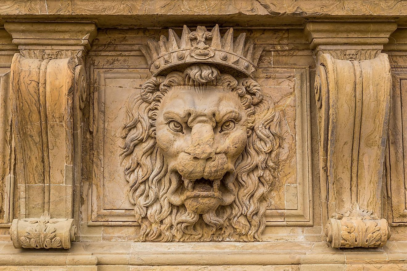 Close up lion stucco at Palazzo Pitti, the old palace of Medici family in Florence, Italy.