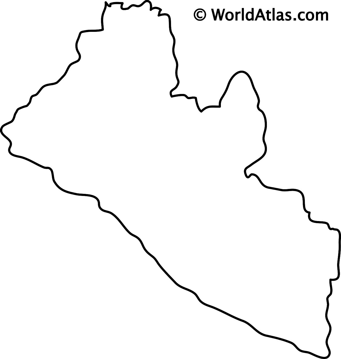 Blank Outline Map of Liberia