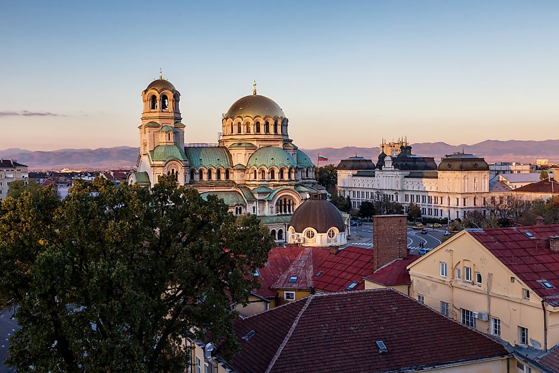 Skyline of Sofia, the biggest city in Bulgaria.