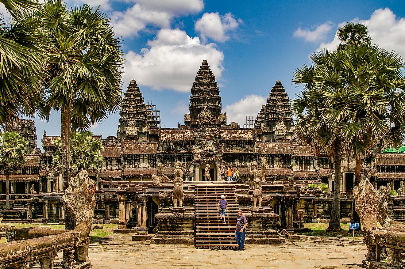Angkor Wat in Cambodia is the largest religious monument in the world and a World heritage listed complex.