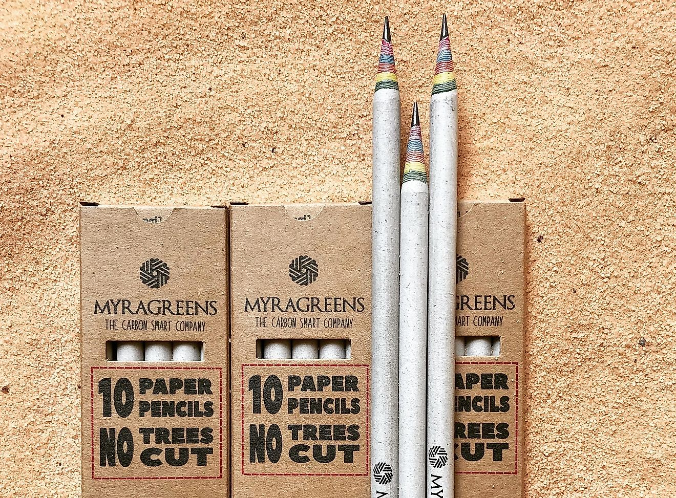 Recycled pencils made by MyraGreens. Photo credit: MyraGreens.