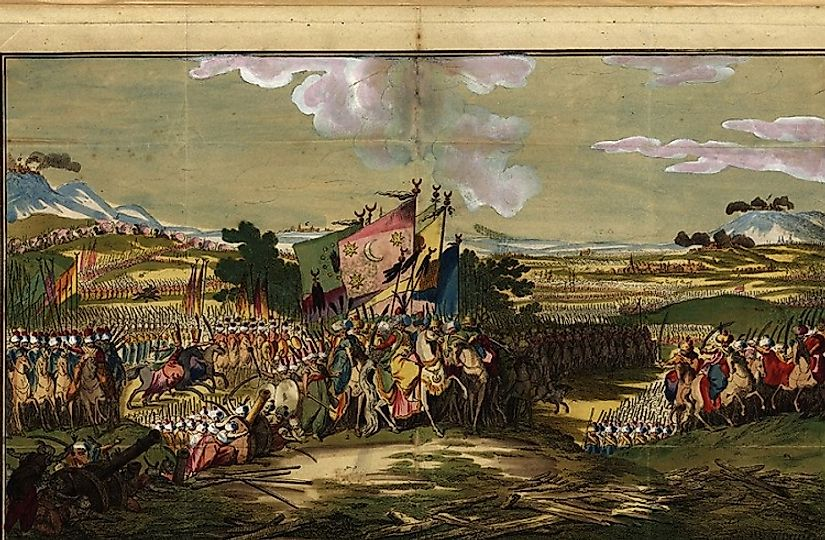 Ottoman Turks marching upon the Austrian Hapsburgs in 1788. Unfortunately for the Austrians, one of their biggest challenges came in the form of friendly fire!