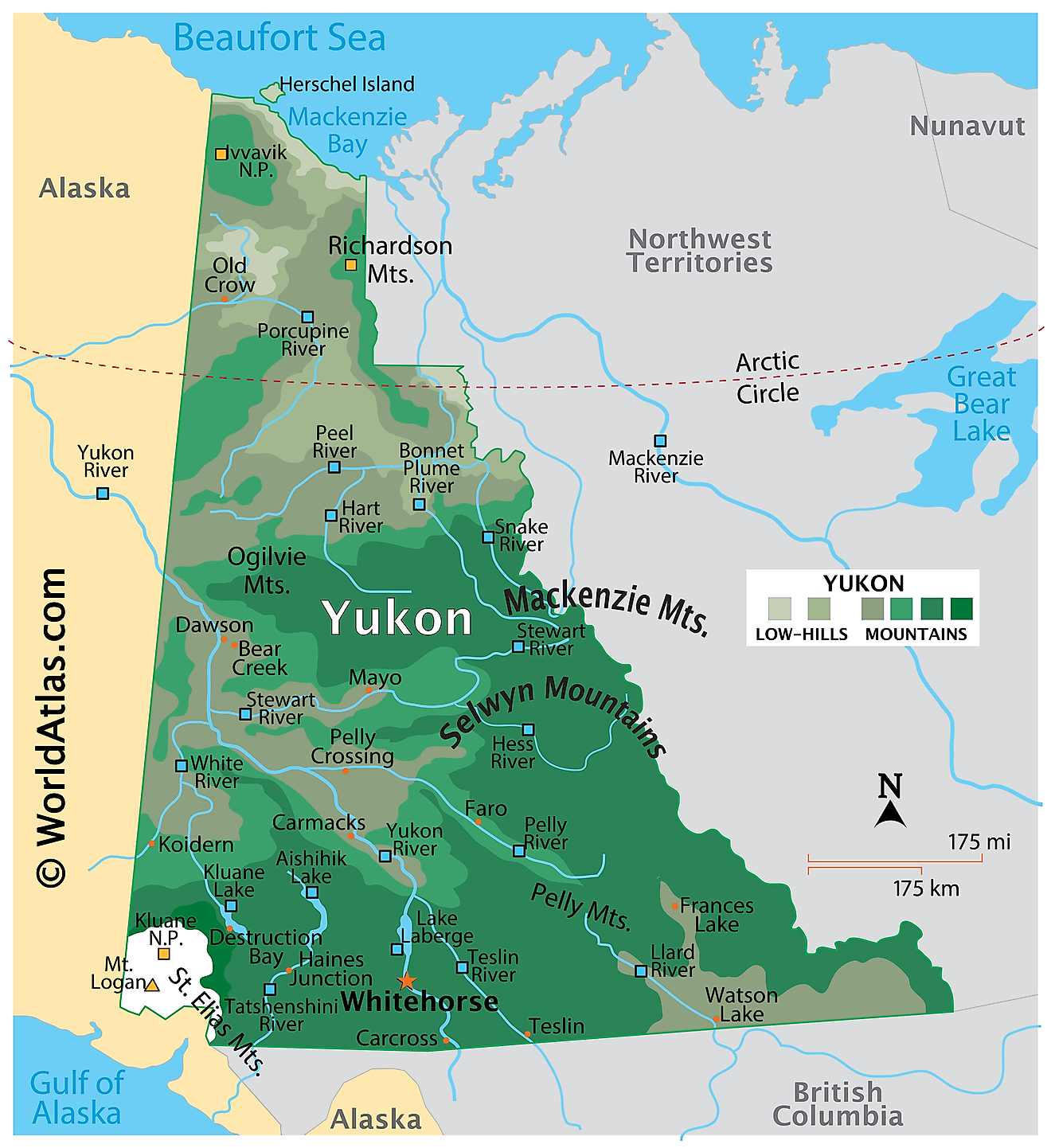Physical Map of Yukon. It shows the physical features of Yukon, including mountain ranges, significant rivers and major lakes.
