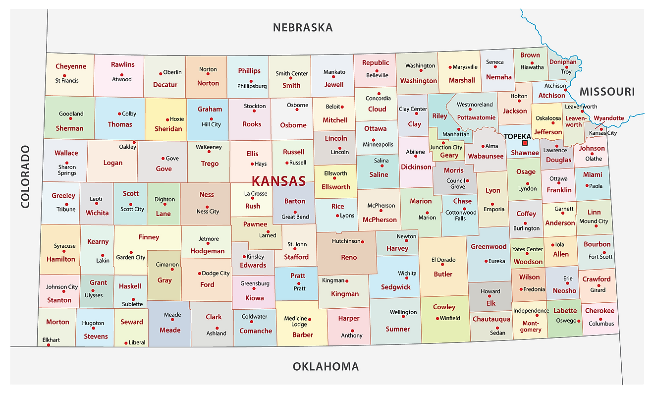 Administrative Map of Kansas showing its 105 counties and the capital city - Topeka