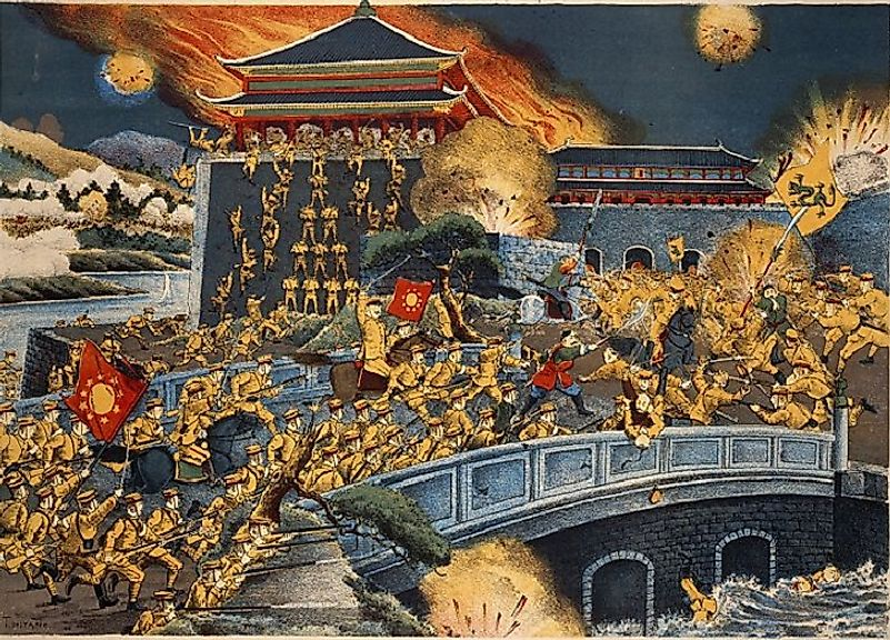 Imperial Chinese soldiers being overcome by rebels during the toppling of the Qing Dynasty during the Xinhai Revolution of 1911.