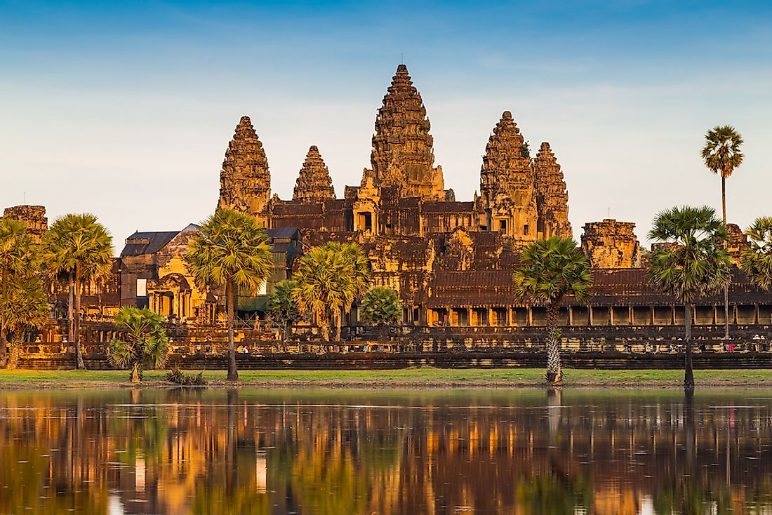 The Angkor Wat Temple (pictured) is featured on the flag of Cambodia.