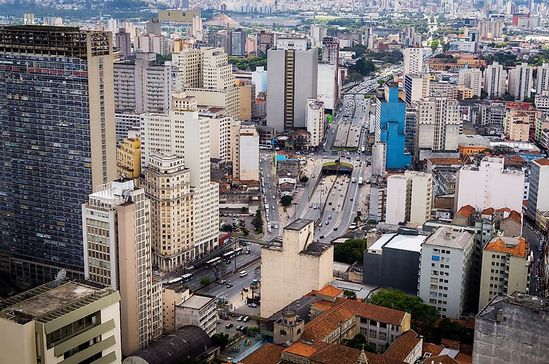 The Mirante do Vale, pictured on the left, is one of Brazil's tallest buildings.